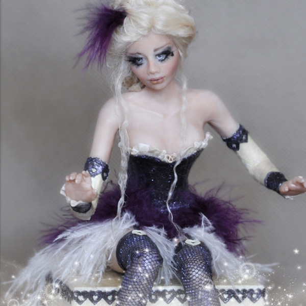 Art doll Olga is a little sculpture of a one-of-a-kind fairy.