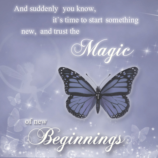 The magic of new beginnings with blue sky a and blue butterfly