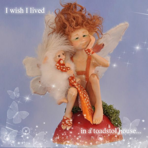 Kallispe Art Dolls presents: Little elf sits on his toadstol and dreams...