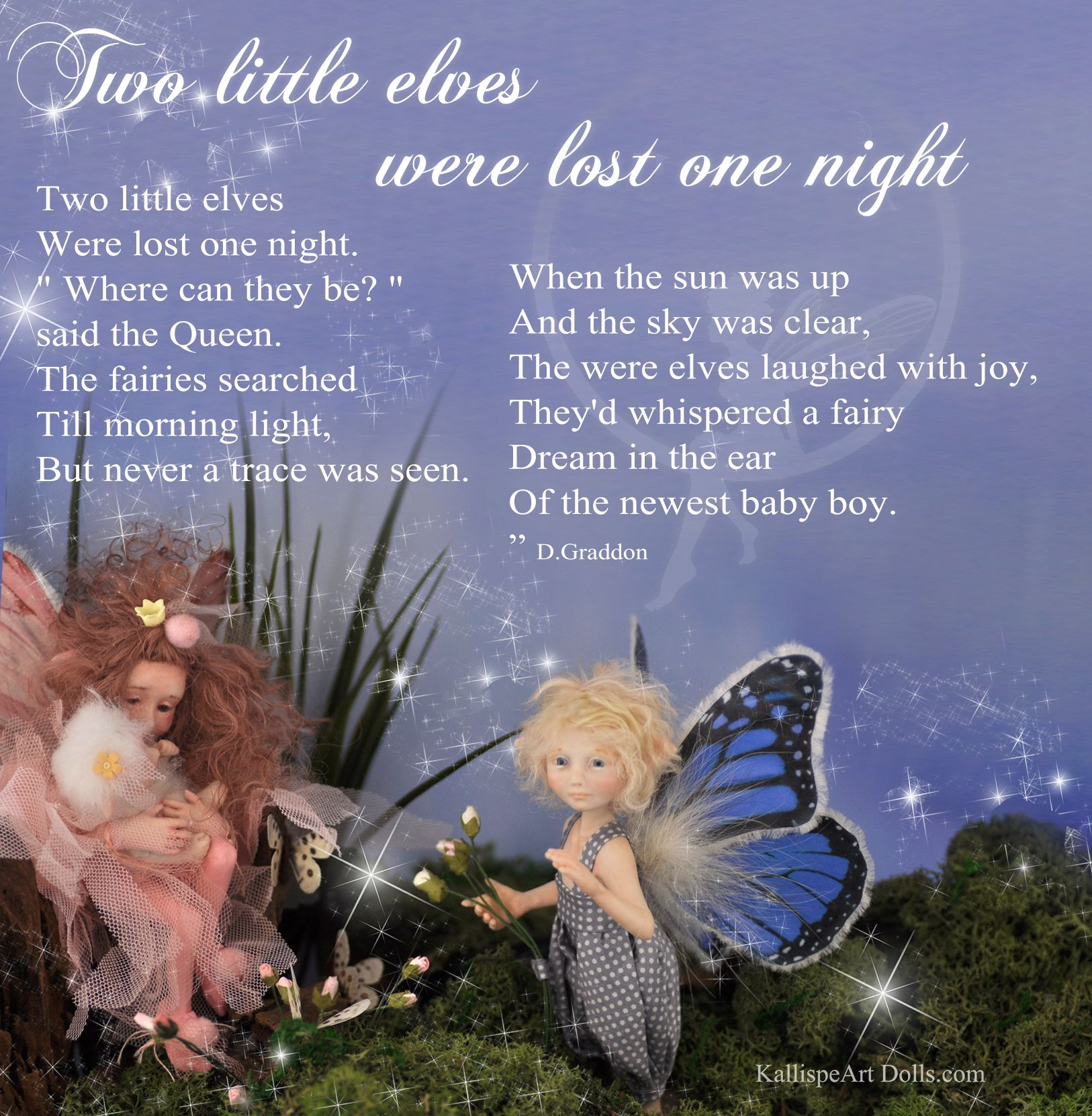 """""""Two little elves were lost one night"""" poem written by D.Graddon"""
